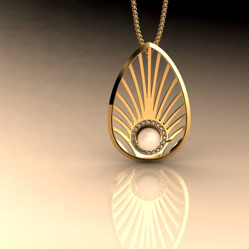 Mayor's Pendant Bespoke, Rosh, Yellow Gold, Pearl