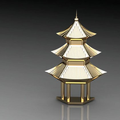 pagoda, brooch, bespoke, ROSH, yellow gold