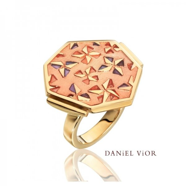 Daniel Vior Silver And Gold Plated, Kirigami Ring, With Pink Enamel And Purple Detail.