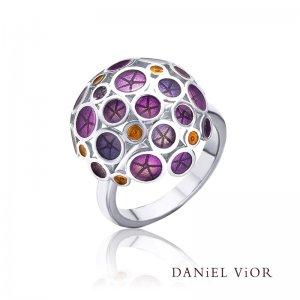 Daniel Vior, Silver Oantos Ring, Violet Enamel With Orange Detail