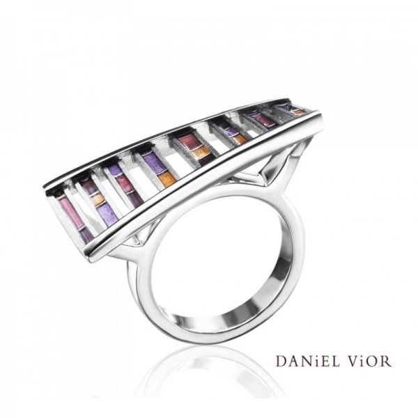 Daniel Vior, DNA Ring, Silver, Earth Enamel