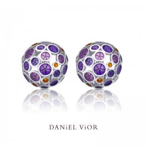 Daniel Vior, Silver Oantos Earrings, Violet Enamel And Orange Detail