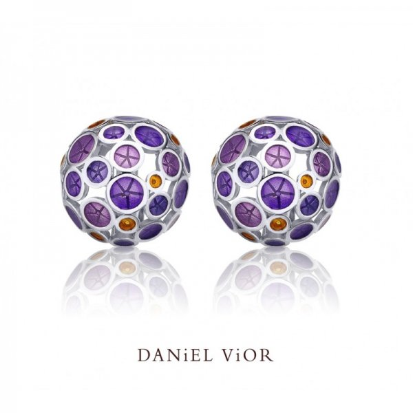 Daniel Vior, Silver Oantos Earrings, Violet Enamel And Orange Detail