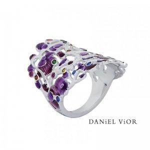 Daniel Vior, Calicaos Ring, Silver, Violet Enamel