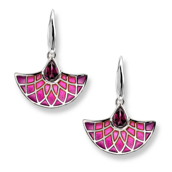 Nicole Barr, Fan Earrings, Rhodolite Set