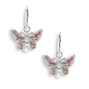 Nicole Barr, Butterfly Earrings Pink, Diamond and Pearl Set