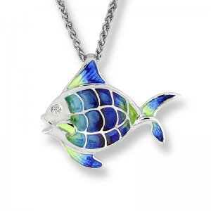 Nicole Barr, Angel Fish Pendant, With White Sapphire