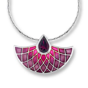 Nicole Barr, Fan Pendant, Set With Rhodolite