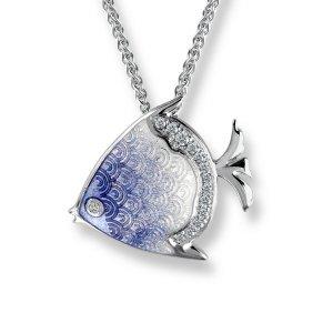 Nicole Barr, Angel Fish Pendant, White Sapphire Set