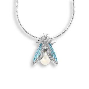 Nicole Barr, Cicada Pendant, Pearl and White Sapphire