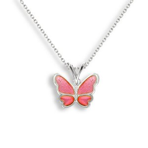 Nicole Barr, Butterfly Pendant Pink, With White Sapphire