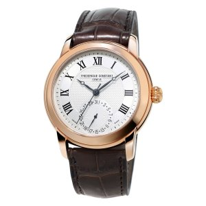 Frederique Constant, Manufacture Gold Plated Watch, With Leather Strap, Brown