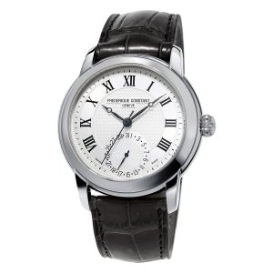 Frederique Constant, Manufacture Steel Watch, With Black Leather Strap.