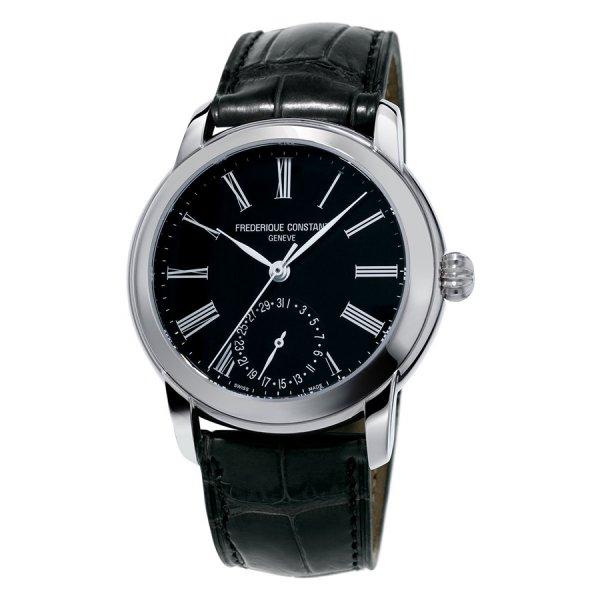 Frederique Constant, Manufacture Steel Black Dial, Black Leather Strap