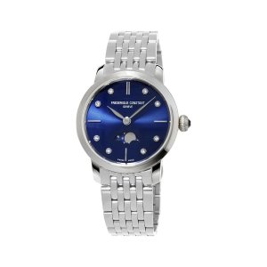 Frederique Constant, Ladies, Slimline Moonphase Watch, Diamond And Blue Dial, Steel.