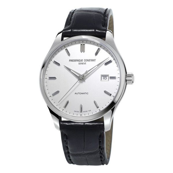 Frederique Constant, Steel Index Watch, Automatic, Black Leather Strap.
