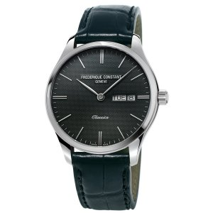 Frederique Constant, Classic Steel Watch, Black Leather Strap