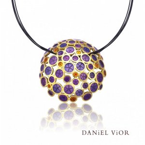 Daniel Vior, Oantos Pendant, Silver And Gold Plated, Violet Enamel And Orange Detail