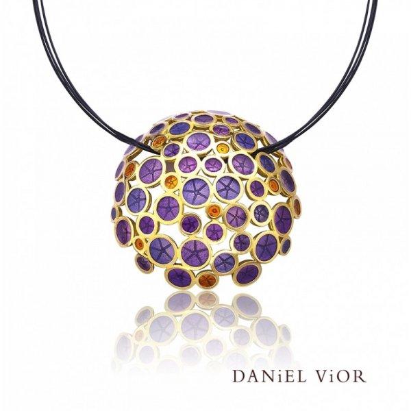 Daniel Vior, Oantos Pendant, Silver And Gold Plated, Violet Enamel And Orange Detail