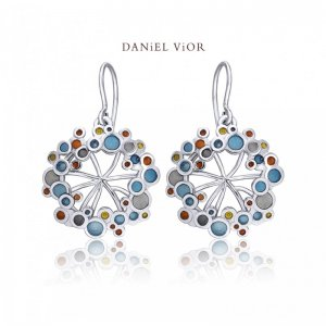 Daniel Vior, Silver, Umbela Earrings, Blue Enamel