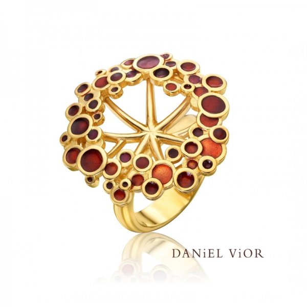 Daniel Vior, Umbela Ring, Silver And Gold Plated, Red Enamel With Orange Detail