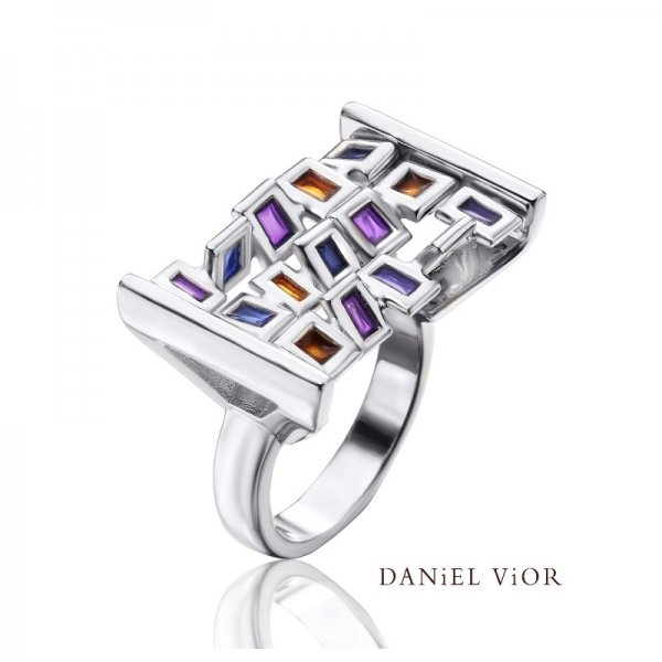 Daniel Vior, Silver, Cuadros Ring, Set With Violet Enamel With Blue And Orange Detail
