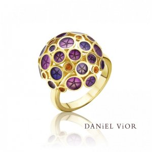 Daniel Vior, Silver and Gold Plated, Oantos Ring, Violet Enamel