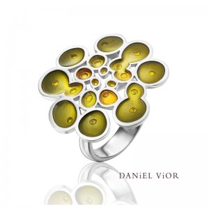 Daniel Vior, Silver, Rusc Ring, Set With Green And Yellow Enamel