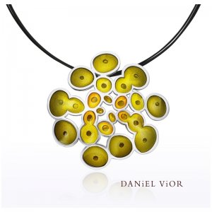 Daniel Vior, Silver, Rusc Pendant, Green And Yellow Enamel