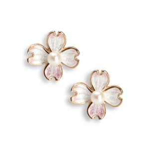 Nicole Barr, Rose Gold Plated, Dogwood Earrings Stud, With Akoya Pearl