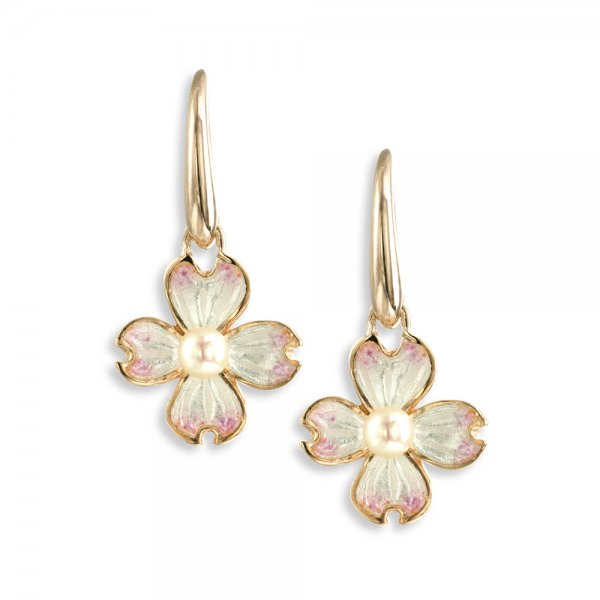Nicole Barr, Dogwood Earrings Wire, Rose Gold Plated, With Akoya Pearl