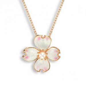 Nicole Barr, Dogwood Pendant, Rose Gold Plated, With Akoya Pearl