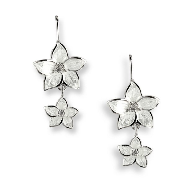 Nicole Barr, Floral Drop Earrings, With White Sapphire