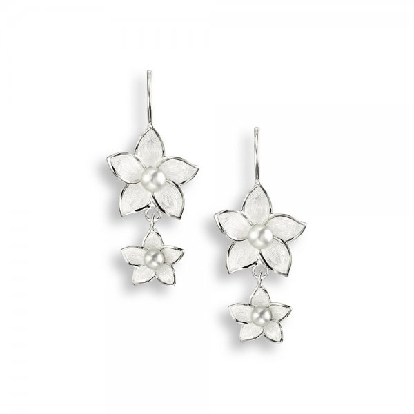 Nicole Barr, Stephanotis Drop Earrings Pearl Set