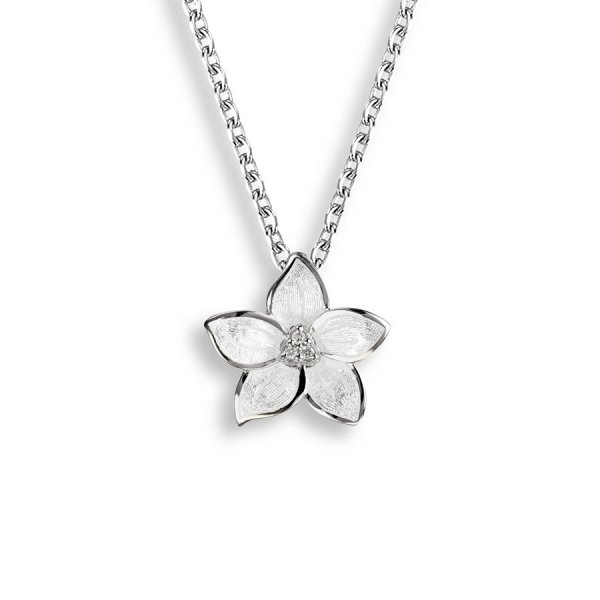 Nicole Barr, Floral Pendant White, With White Sapphire