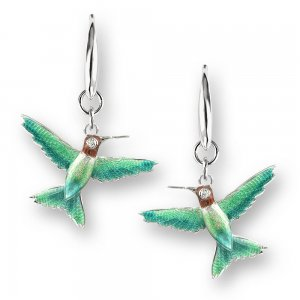 Nicole Barr, Hummingbird Earrings Green, With White Sapphire