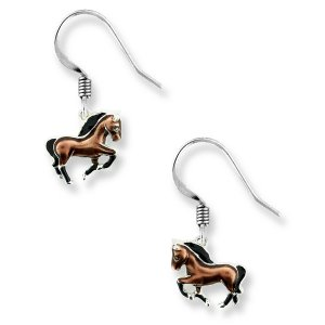 Nicole Barr, Horse Earrings Brown