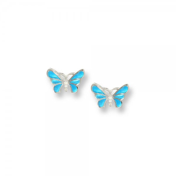 Nicole Barr, Butterfly Earrings Blue, With White Sapphire