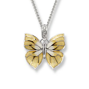 Attributes Nicole Barr, Butterfly Pendant Yellow, With White Sapphire