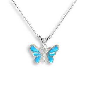 Nicole Barr, Butterfly Pendant Blue, With White Sapphire