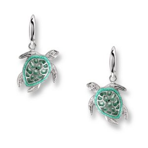 Nicole Barr, Turtle Earrings Green, With White Sapphire