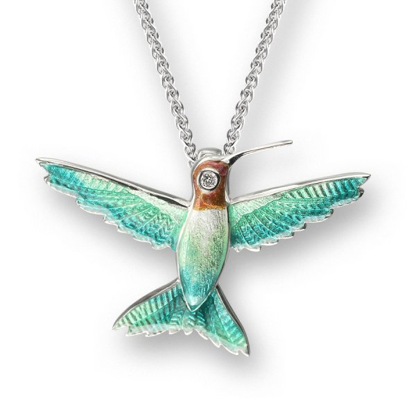 Nicole Barr, Hummingbird Pendant Green, With White Sapphire