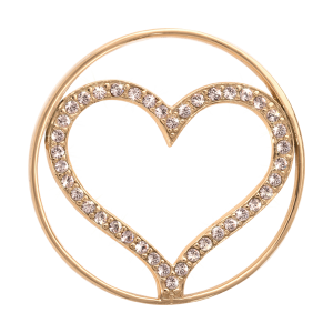 Nikki Lissoni Yellow Gold Medium Sparkling Heart Coin