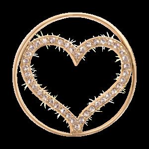 Nikki Lissoni Yellow Gold Medium Sparkling Heart Coin