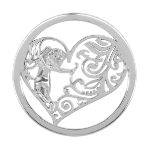 Nikki Lissoni Silver Medium Cupid's Heart Coin