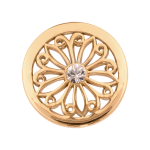 Nikki Lissoni Yellow Gold Small Oriental Flower Coin