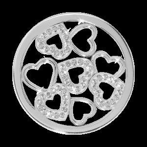 Nikki Lissoni Silver Medium Sparkling Hearts Coin