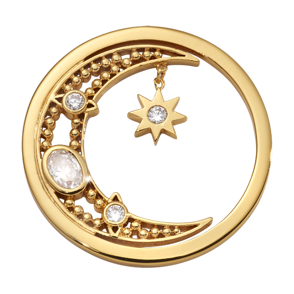 Nikki Lissoni Yellow Gold Medium Moon Goddess Coin