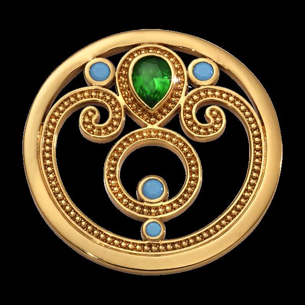 Nikki Lissoni Yellow Gold Medium Emerald Dream Coin