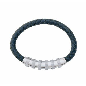 Gent's Leather Bracelet Blue
